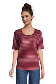 Women's Petite Elbow Sleeve Supima Cotton Scoop Neck T-Shirt