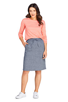 Women's Elastic Waist Linen Mix Skirt