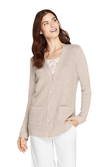 Women's Linen/Cotton Shaker Cable Cardigan