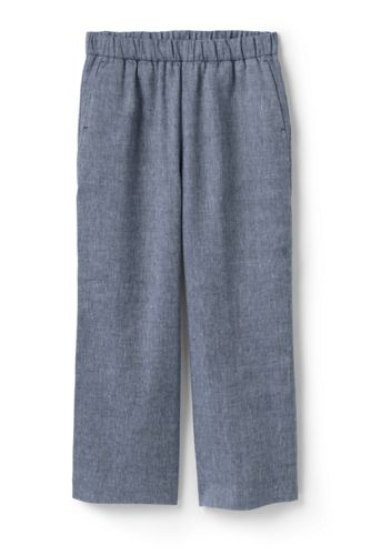 Women's Twill Weave Linen Blend Wide Leg Crops
