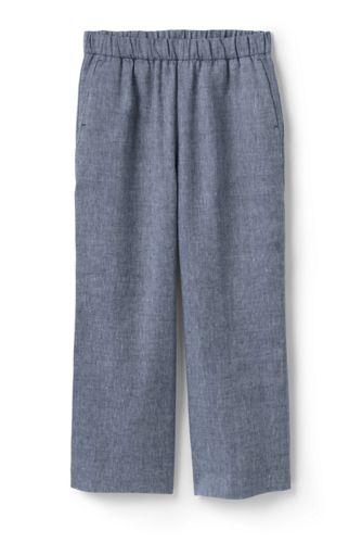 Pantacourt Large Taille Haute en Lin Mélangé, Femme Stature Standard