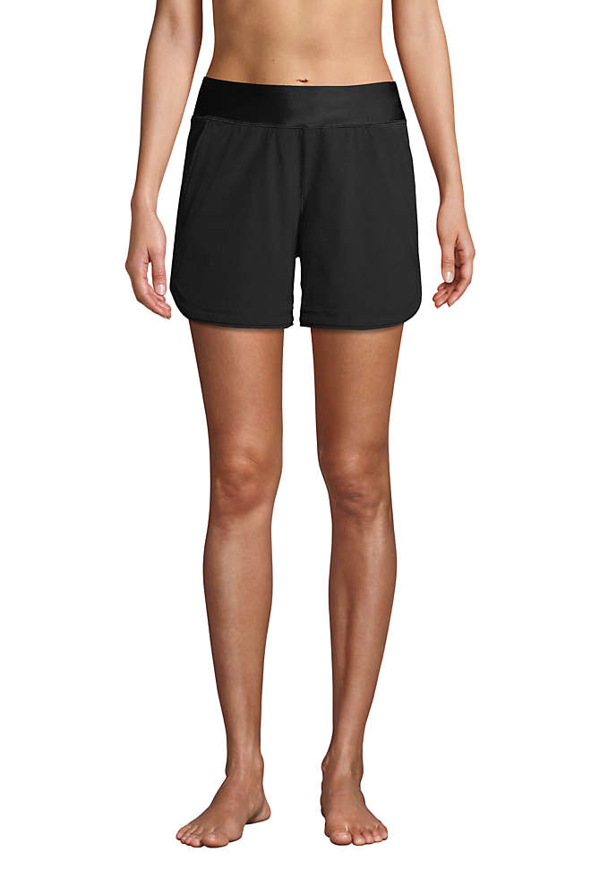 "Women's Curvy Fit 5"" Quick Dry Elastic Waist Running Board Shorts Swim Shorts, Front"