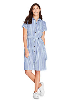 Women's Linen Blend Short Sleeve Shirt Dress