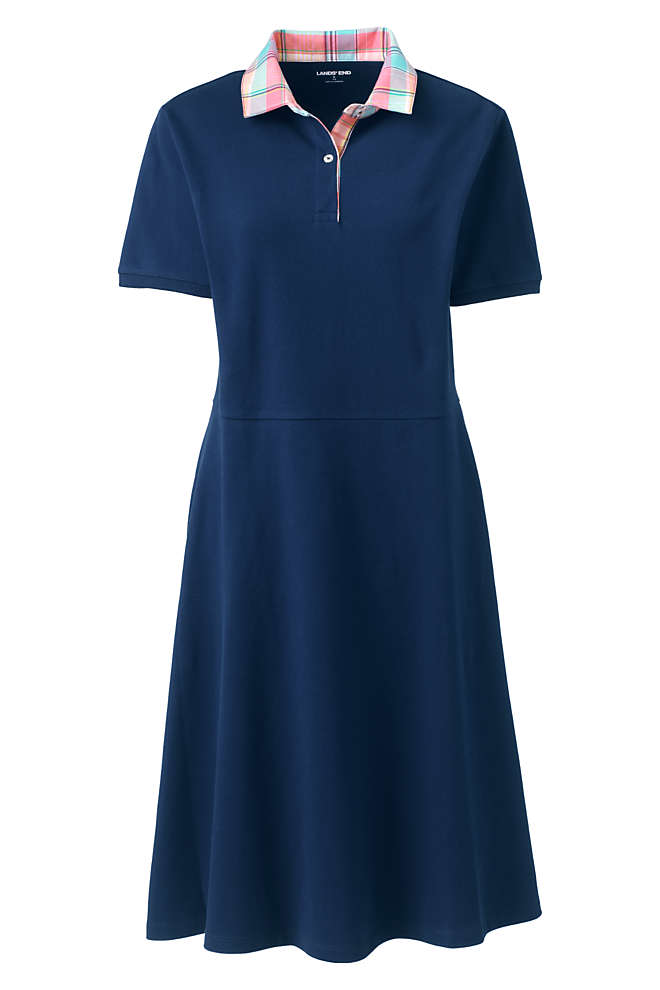 Women's Short Sleeve Mesh Cotton Knee Length Polo Dress, Front