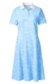 Women's Plus Size Short Sleeve Mesh Cotton Knee Length Polo Dress