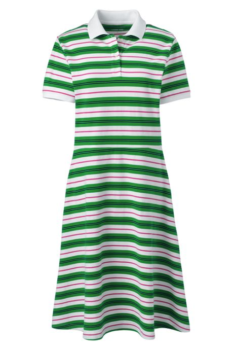 Women's Tall Short Sleeve Mesh Cotton Knee Length Polo Dress