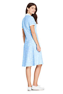 Women's Short Sleeve Mesh Cotton Knee Length Polo Dress, Back