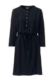 Women's Petite Long Sleeve Knee Length Shirt Dress with UV Protection