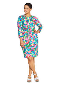 Women's Plus Size Long Sleeve Knee Length Shirt Dress with UV Protection