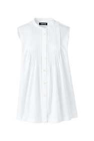 Women's Plus Size Sleeveless Cotton Pintuck Shirt