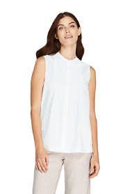 Women's Sleeveless Cotton Pintuck Shirt