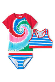 Little Girls Short Sleeve UPF 50 Sun Protection Rashguard 3 Piece Set