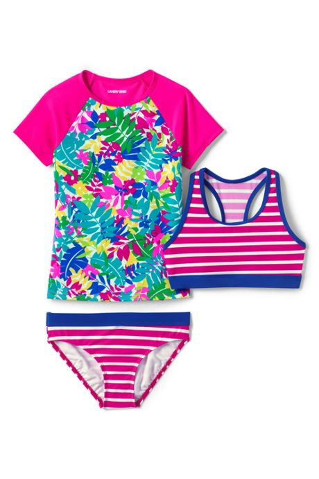 Girls Short Sleeve UPF 50 Sun Protection Rashguard 3 Piece Set