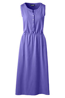 Women's Cotton Blend Sleeveless Midi Shirt Dress, Front
