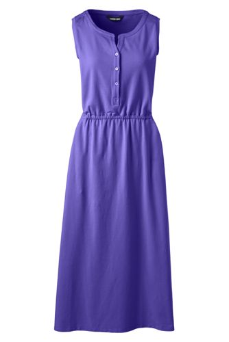 Women's Cotton-Modal Henley Midi Dress