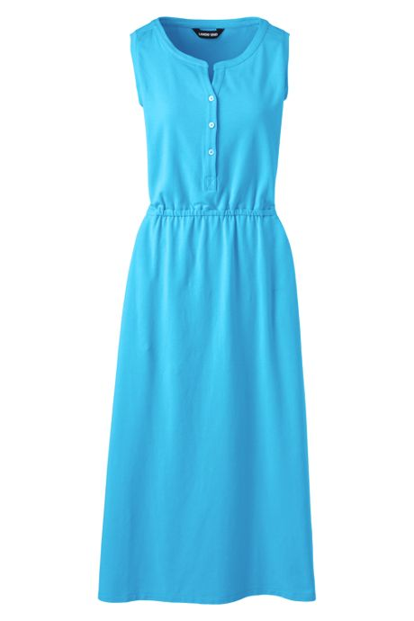 Women's Plus Size Cotton Blend Sleeveless Midi Shirt Dress