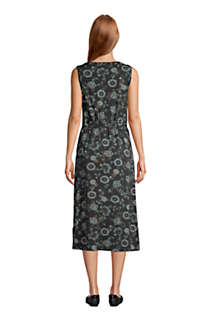 Women's Cotton Blend Sleeveless Midi Shirt Dress, Back