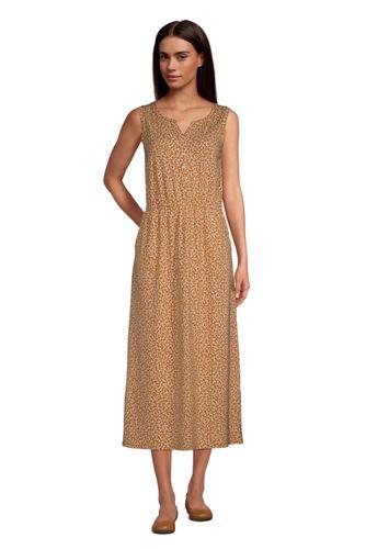 Robe Henley Mi-Longue Sans Manches Taille Élastiquée, Femme Stature Standard
