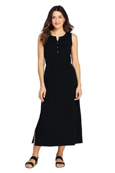 Women's Cotton Blend Sleeveless Midi Shirt Dress