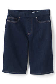 Women's Plus Size High Rise Pull On Bermuda Jean Shorts-Indigo