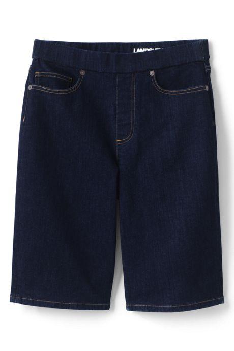 Women's Plus Size High Rise Pull On Bermuda Jean Shorts-Indigo