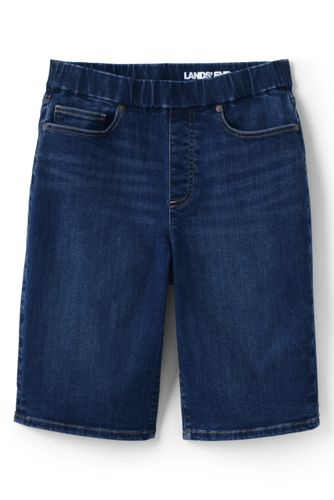 Bermuda en Jean Stretch Taille Haute Élastiquée Indigo, Femme Stature Standard