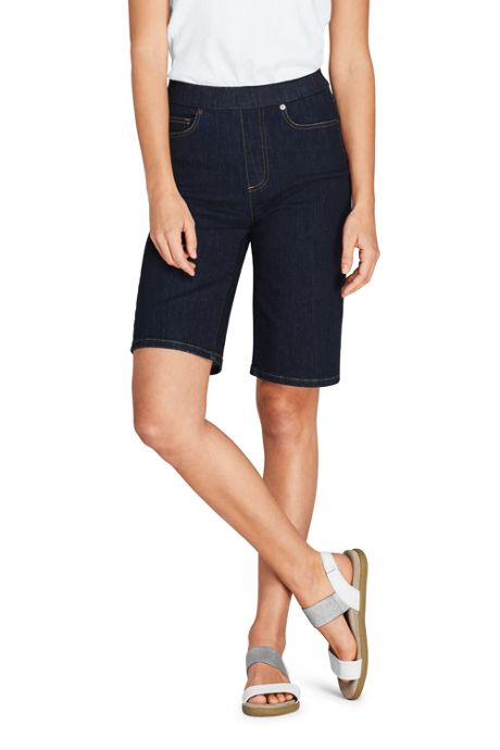 Women's Petite High Rise Pull On Bermuda Jean Shorts-Indigo