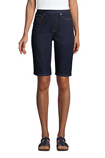 Bermuda en Jean Stretch Taille Haute Élastiquée, Femme Stature Standard