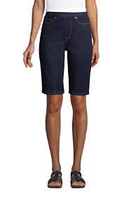 Women's High Rise Pull On Bermuda Jean Shorts-Indigo