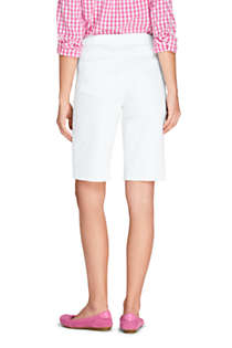 Women's High Rise Pull On Bermuda Jean Shorts-White, Back