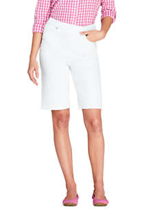 Women's High Rise Pull On Bermuda Jean Shorts-White, Front