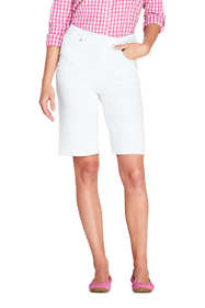 Women's Petite High Rise Pull On Bermuda Jean Shorts-White