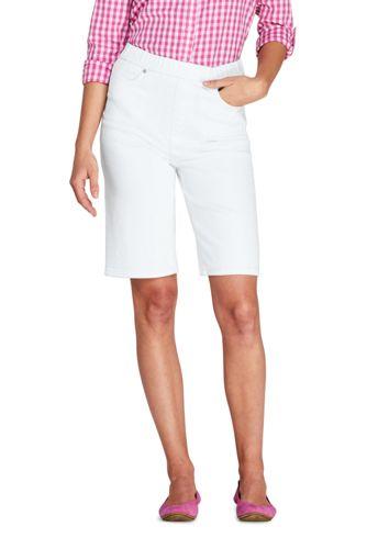 Weiße Jeans-Bermudas High Waist mit Dehnbund