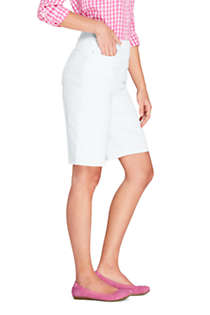Women's High Rise Pull On Bermuda Jean Shorts-White, alternative image