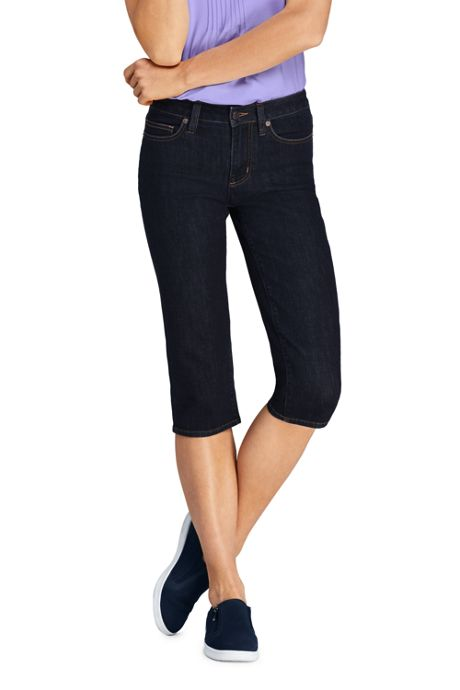 Women's Mid Rise Straight Leg Capri Jeans