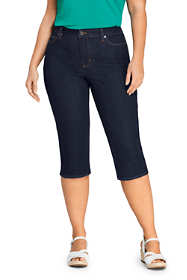 Women's Plus Size Mid Rise Straight Leg Capri Jeans