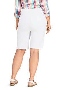 Women's Plus Size High Rise Pull On Bermuda Jean Shorts-White, Back