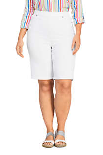 Women's Plus Size High Rise Pull On Bermuda Jean Shorts-White, Front