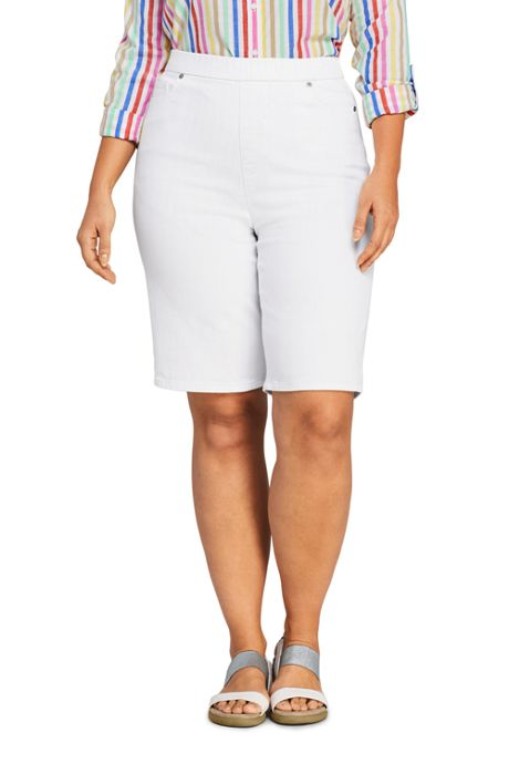 Women's Plus Size High Rise Pull On Bermuda Jean Shorts-White