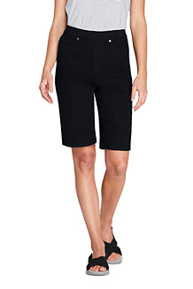 Bermuda en Jean Stretch Taille Haute Élastiquée Noir, Femme