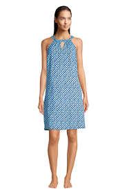 Women's Sleeveless High Neck Keyhole with UV Protection Swim Cover-up Dress