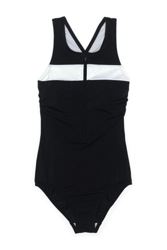 Women's Chlorine Resistant Zip Front One Piece Athletic Swimsuit