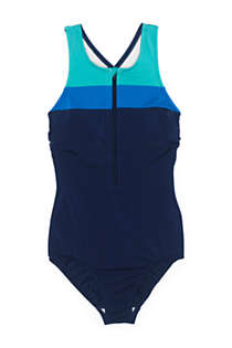 Women's Chlorine Resistant Zip Front One Piece Athletic Swimsuit, Front