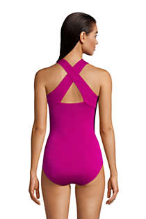 Women's Chlorine Resistant Zip Front One Piece Athletic Swimsuit, Back