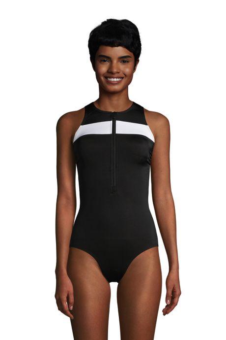 Women's Chlorine Resistant Zip Front One Piece Athletic Swimsuit