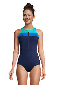 Women's Mastectomy Chlorine Resistant Zip Front One Piece Athletic Swimsuit