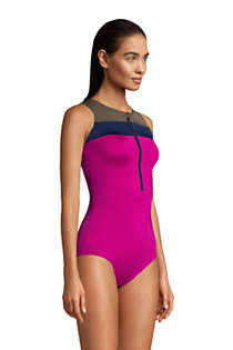 Women's Chlorine Resistant Zip Front One Piece Athletic Swimsuit, alternative image