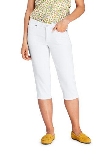 Jean Capri Stretch Droit Blanc, Femme Stature Standard