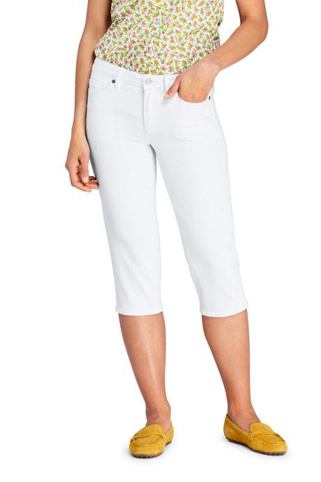 Women's Mid Rise Straight Leg Capri Jeans-White