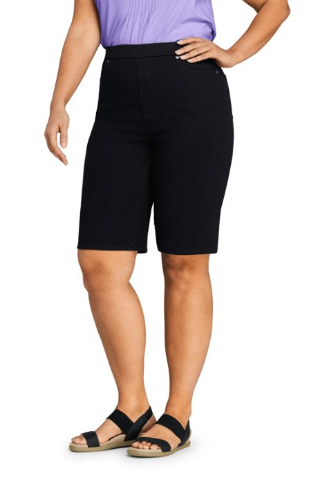 Women's Plus Size High Rise Pull On Bermuda Jean Shorts-Black